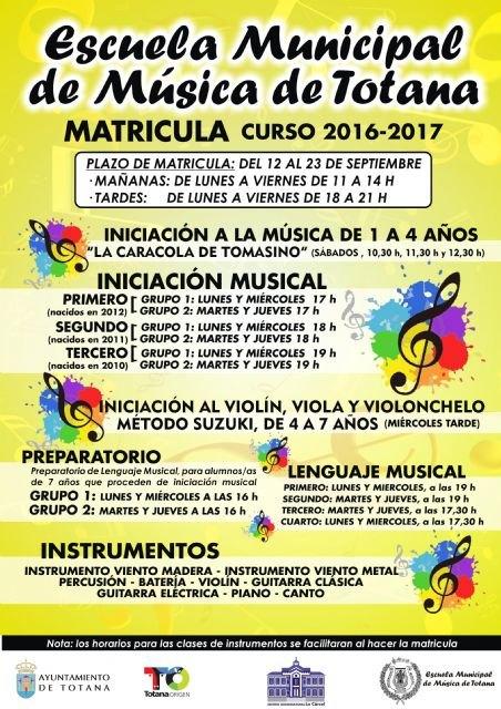 El plazo de matrícula de la Escuela Municipal de Música para el curso 2016/2017 es del 12 al 23 de septiembre, ambos inclusive, Foto 1
