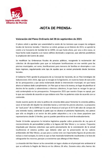 Valoración del Pleno Ordinario del 28 de septiembre de 2021. IU-verdes Alhama de Murcia - 1, Foto 1
