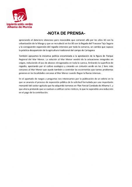 Valoración del Pleno Ordinario del 28 de septiembre de 2021. IU-verdes Alhama de Murcia - 2, Foto 2