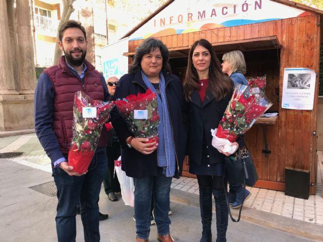 La Asociación Alzheimer Lorca realiza su tradicional venta benéfica de Flores de Pascua para recaudar fondos para la realización de sus actividades anuales - 1, Foto 1