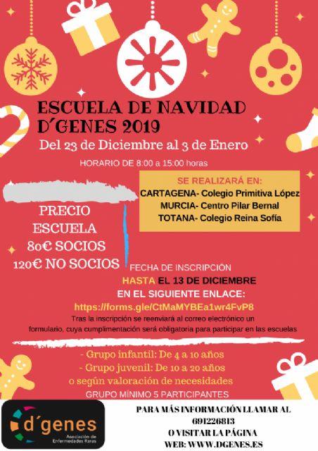 D´Genes oferta una Escuela de Navidad en Totana, Murcia y Cartagena