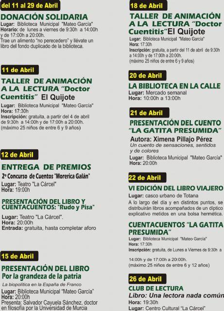 El programa del Día del Libro se prolonga con actividades desde el 11 al 29 de abril, Foto 2