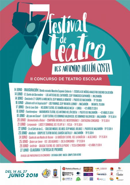 Cinco centros educativos de la región competirán en la fase de concurso del VII festival de teatro del IES Antonio Hellín, Foto 2