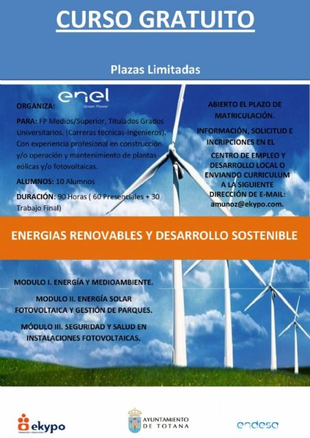 "There are still places in the Course of Renewable Energy and Sustainable Development, organized by the Department of Economic Development and the company ""Enel Green Power"""
