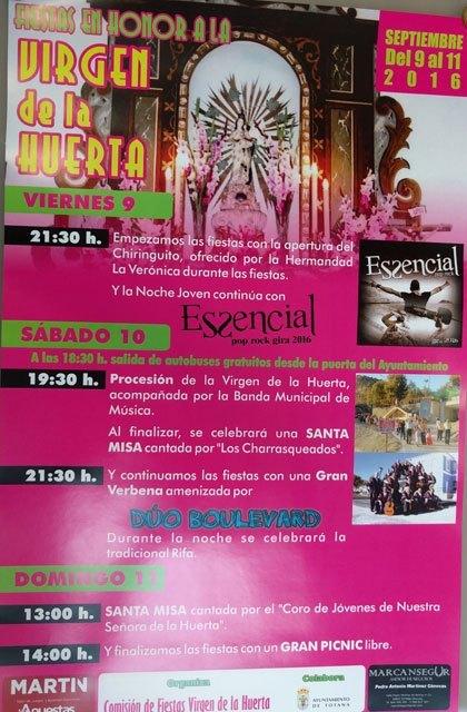 Las fiestas de La Huerta 2016 se celebrarán este fin de semana, del 9 al 11 de septiembre, Foto 3