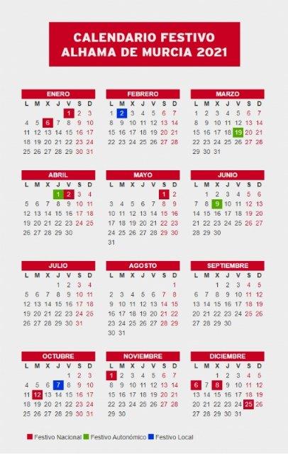 Calendario festivo para 2021 en Alhama de Murcia, Foto 1