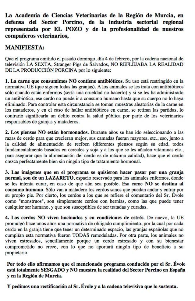 La Academia de Ciencias Veterinarias de la Región de Murcia asegura que el programa Stranger Pigs de Salvados está totalmente SESGADO y NO muestra la realidad del Sector Porcino, Foto 1
