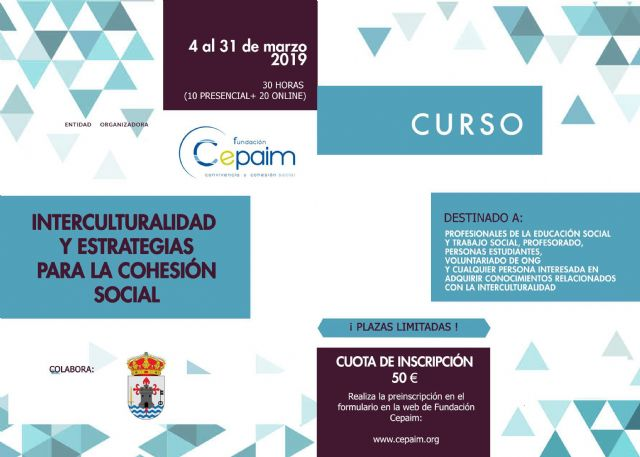 "The Cepaim Foundation organizes in March the course ""Interculturality and Strategies for Social Cohesion"" within the program ""La Cárcel Formación"""