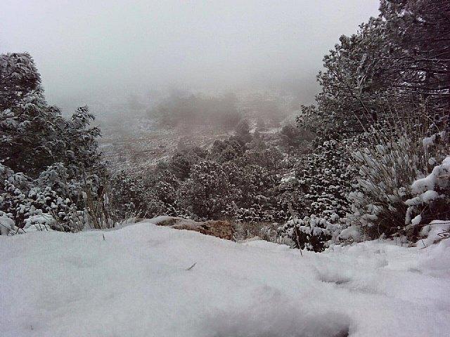 Las primeras nieves del invierno llegan a las cotas más altas del parque regional de Sierra Espuña, Foto 1