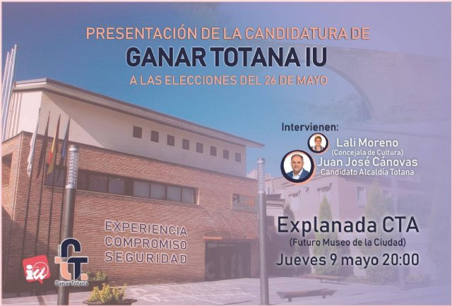Win Totana IU will present its candidacy next Thursday at 20:00 on the esplanade of the Technological Center of Crafts
