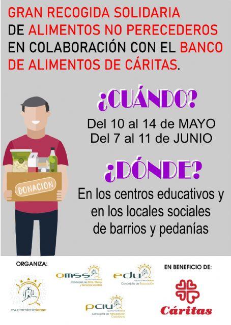 El Ayuntamiento de Lorca organiza una gran recogida de alimentos a beneficio de Cáritas en los centros educativos y asociaciones de vecinos del municipio - 1, Foto 1