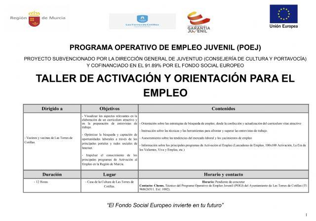 Las Torres de Cotillas propone un taller de activación y orientación para el empleo para jóvenes - 1, Foto 1