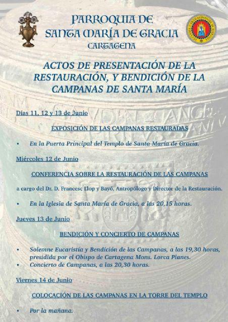 Las campanas de Santa María de Gracia de Cartagena regresan restauradas al templo - 1, Foto 1