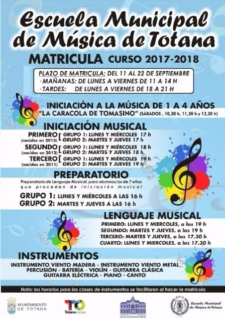 The schedule and schedule for the new course of the Municipal School of Music are presented - 2