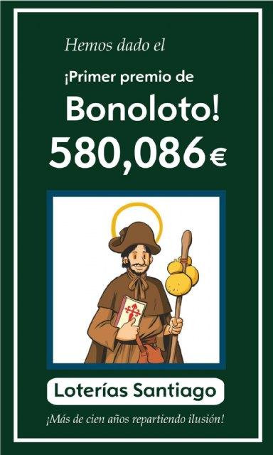 Un acertante de primera categoría de la Bonoloto en Totana gana 580.085,97 euros, Foto 1