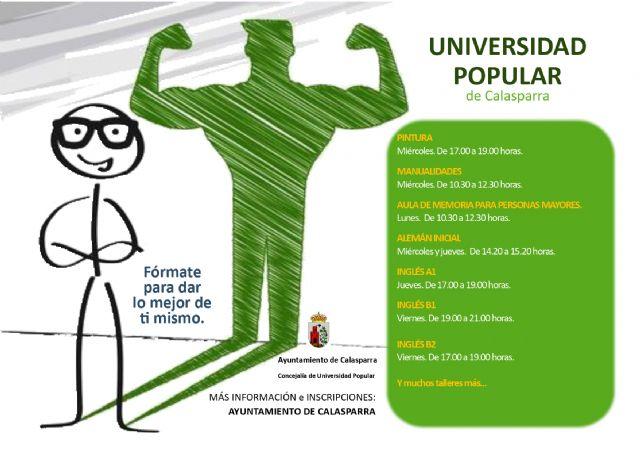 Abierto el plazo de matriculación de los cursos de la Universidad Popular de Calasparra 2021/20212 - 1, Foto 1