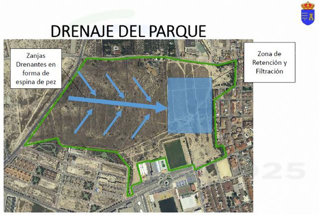 Las Torres de Cotillas presenta a la CHS un diseño del futuro proyecto para gestionar las aguas del parque de La Emisora - 1, Foto 1