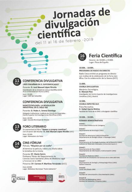 La sede permanente de la Universidad de Murcia en Cieza dedica la próxima semana a la divulgación científica - 1, Foto 1