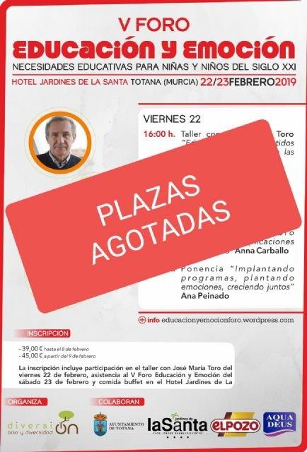 Agotadas las plazas para el V Foro Educación y Emoción que tendrá lugar durante los días 22 y 23 de febrero en Totana, Foto 1