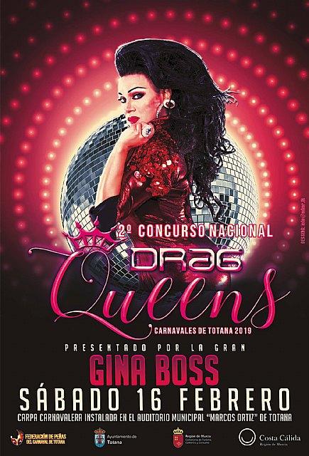 El 2º Concurso Nacional de Drag Queens Carnavales de Totana 2019 será presentado por Gina Boss - 2, Foto 2