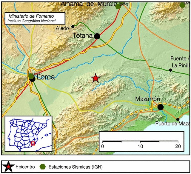 The 1-1-2 received 3 calls reporting an earthquake between Totana, Lorca and Mazarrón