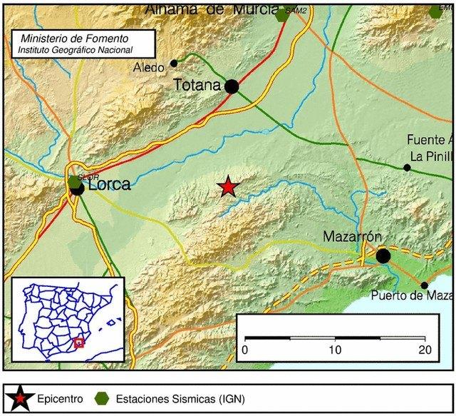 El 1-1-2 ha recibido 3 llamadas informando de un terremoto entre Totana, Lorca y Mazarrón, Foto 1