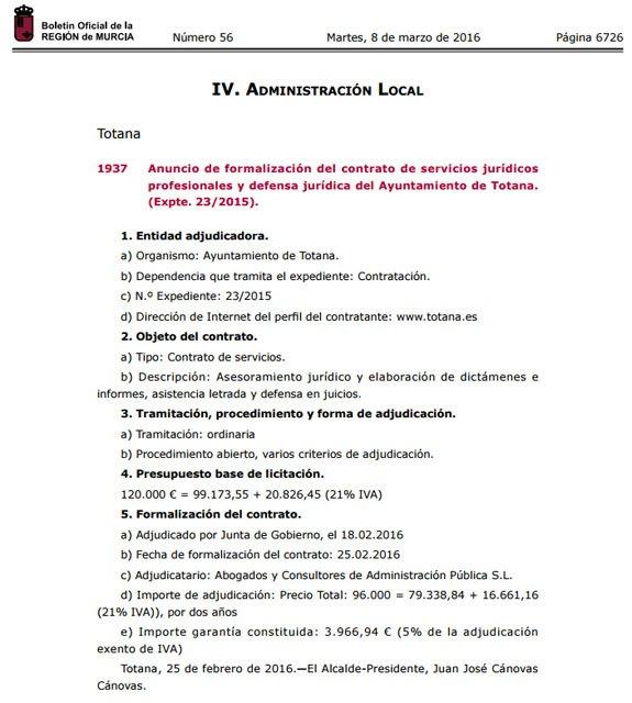El BORM publica hoy el anuncio de formalización del contrato de servicios jurídicos profesionales y defensa jurídica del Ayuntamiento de Totana, Foto 1