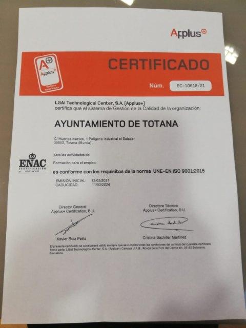 El área municipal de Formación para el Empleo recibe la certificación ISO 9001, la norma referente de calidad europea, Foto 3