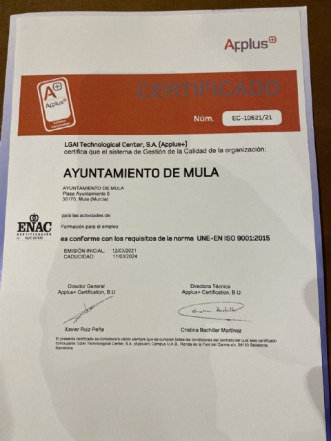 El Ayuntamiento de Mula recibe la acreditación ISO 9001 de Calidad de Formación - 1, Foto 1