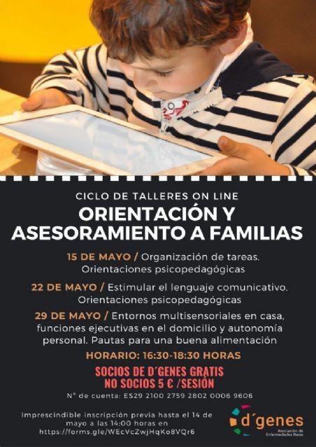 D´Genes organiza un ciclo de talleres on line sobre Orientación y asesoramiento a familias con tres sesiones los días 15, 22 y 29 de mayo - 1, Foto 1