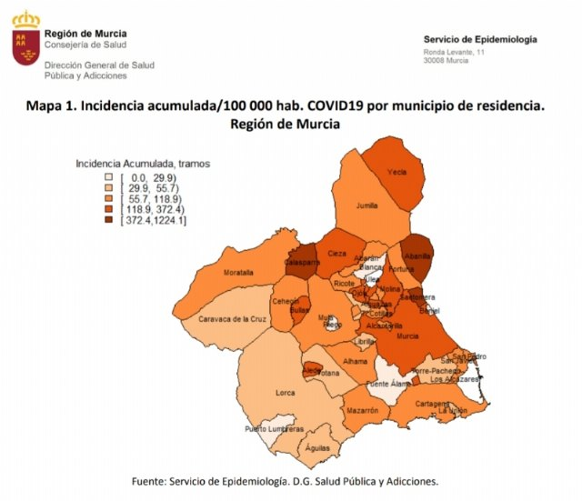 The cumulative incidence of COVID-19 in Health Area III is 51.1 cases per 100,000 inhabitants