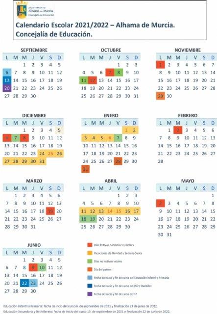 Calendario escolar Alhama 2021-2022, Foto 1
