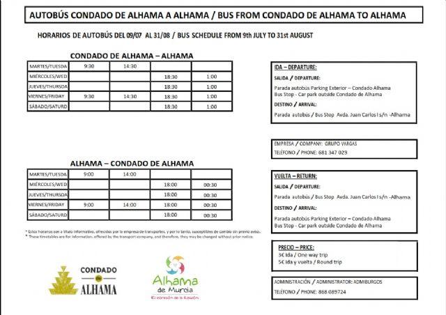 Ya disponible el servicio de autobús estival entre Alhama y el Condado - 2, Foto 2
