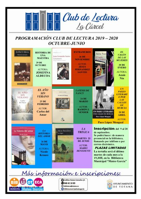 "Those interested in participating in the 2019/20 Reading Club program must register from September 9 to 20 through the ""Mateo García"" Municipal Library"