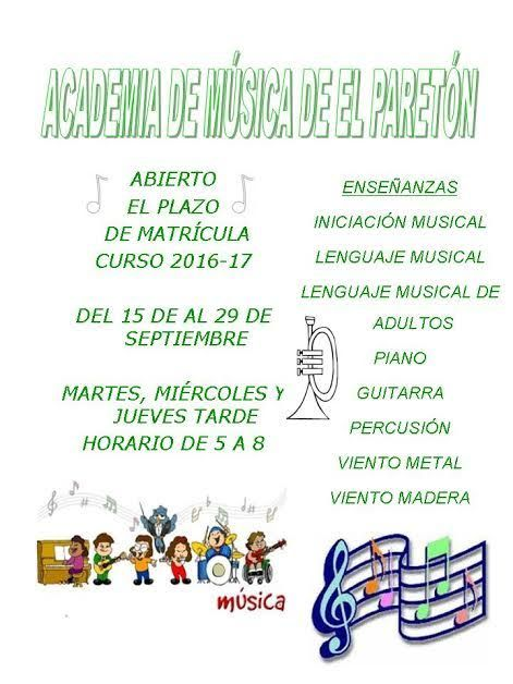 El plazo de matrícula de la Academia de Música de El Paretón será del 15 al 29 de septiembre, Foto 1