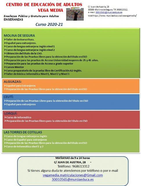 Abierto el plazo de solicitud de matrícula para el Centro Comarcal de Educación de Adultos Vega Media de Molina de Segura hasta el día 11 de septiembre - 1, Foto 1