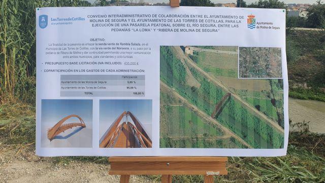 Los ayuntamientos de Molina de Segura y Las Torres de Cotillas firman un convenio para construir la pasarela peatonal que unirá las pedanías de La Ribera y La Loma - 2, Foto 2
