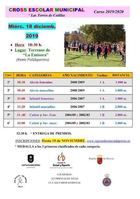 El cross escolar 2019 de Las Torres de Cotillas espera 1.200 corredores - 1, Foto 1