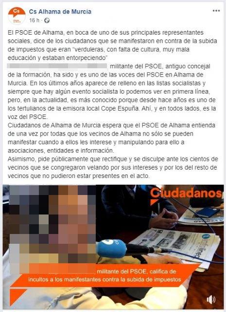 El PSOE estudia acciones legales contra C