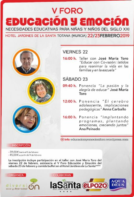 "The ""V Forum Education and Emotion"" will take place on February 22 and 23 in Totana - 1"