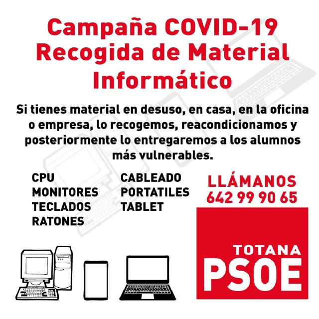 The PSOE launches a campaign to collect computer material to reduce the technological gap