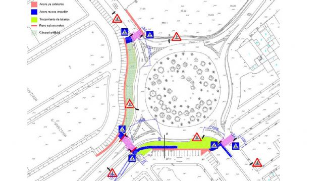 El Ayuntamiento de Lorquí facilitará el cruce en la rotonda de El Descanso con pasos peatonales - 1, Foto 1