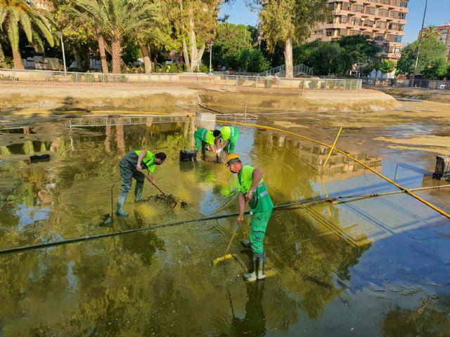 Finalizados los trabajos de vaciado, limpieza y desinfección del lago del jardín del Salitre - 1, Foto 1
