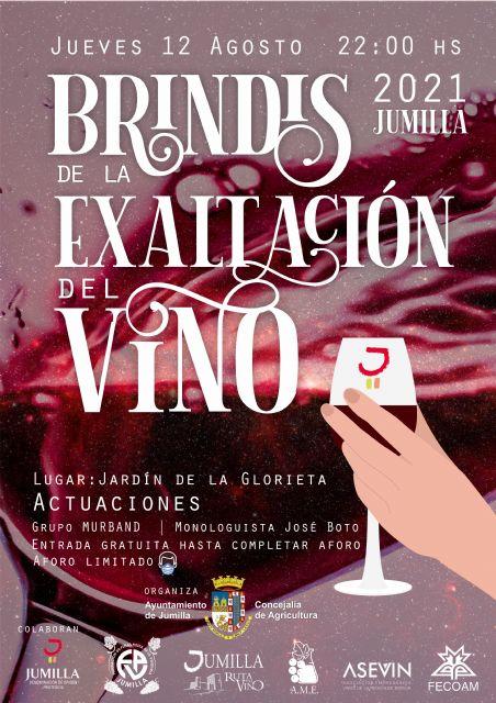 El brindis de la Exaltación del Vino 2021 se realizará este jueves en La Glorieta tras la actuación de un monologuista y un grupo musical - 1, Foto 1