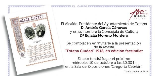 "Tomorrow the magazine ""Totana Ciudad, 1918"" is presented, in a facsimile edition, within the cultural events of the Centennial of the City, Foto 2"