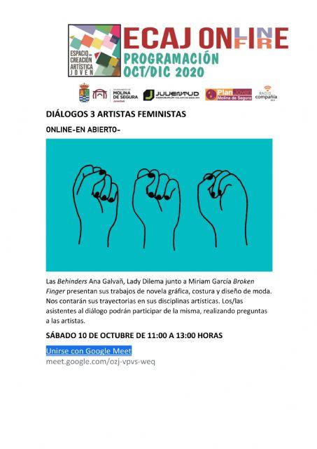 La Concejalía de Juventud de Molina de Segura organiza el encuentro Diálogos: 3 Artistas Feministas el sábado 10 de octubre - 1, Foto 1