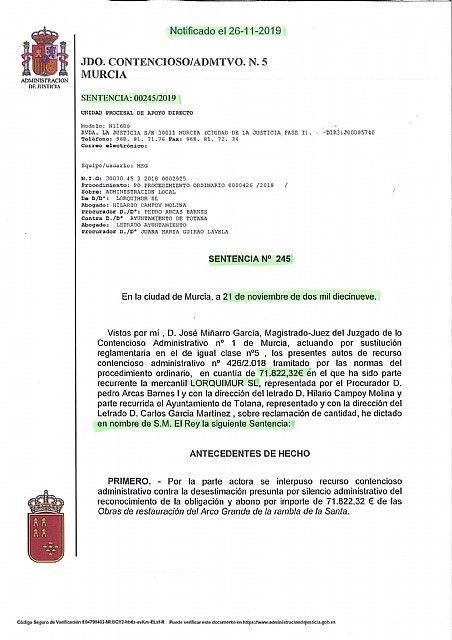 Llegan nuevas sentencias judiciales que condena a pagar miles de euros al pueblo de Totana, según explica el alcalde