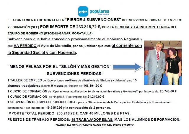 El PP denuncia que el ayuntamiento de Moratalla pierde 4 subvenciones del SEF por importe de 233.816,72 € - 1, Foto 1