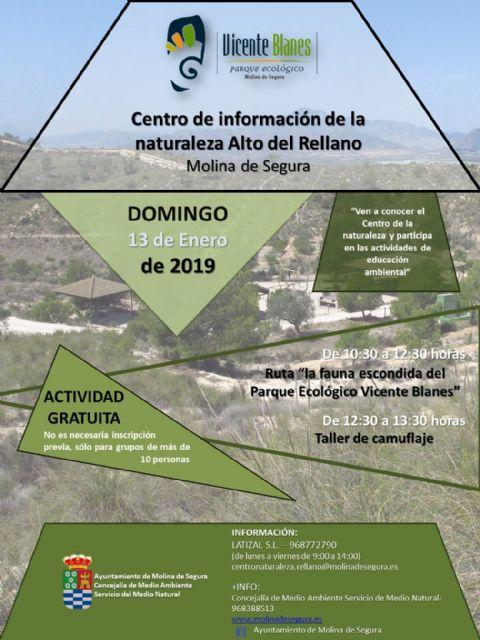 El Centro de Información de la Naturaleza Alto del Rellano de Molina de Segura invita a una ruta para conocer la fauna escondida del Parque Ecológico Vicente Blanes el domingo 13 de enero - 1, Foto 1