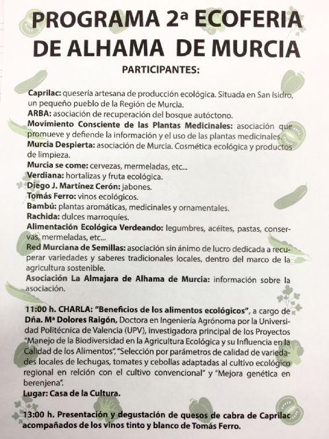 El 22 de mayo se celebrará la 2ª Ecoferia de Alhama de Murcia, Foto 3
